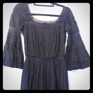 VINTAGE Authentic Mexico Black Crochet Dress
